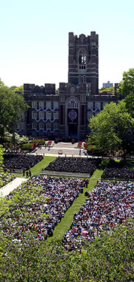 Commencement ceremony on the Rose Hill campus