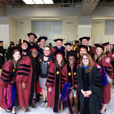 Fordham GSE Counseling Psychology PhD students and faculty pose for a photo before the Commencement ceremony