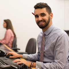 Male Student in Front of Computer