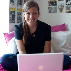 Female Student with Laptop in Dorm