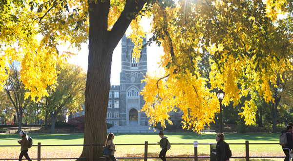 Keating Hall on the Rose Hill Campus during autumn.