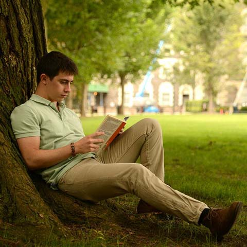 Pastoral photo of male student reading a book under tree - LG