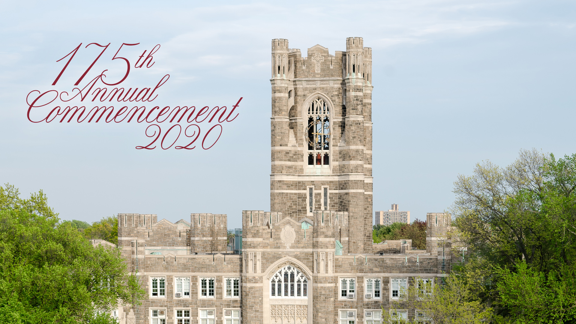 175th Commencement Horizontal Zoom Background with Keating Hall