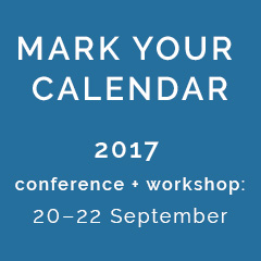 Mark your calendar for the 2017 conference + workshop: 20–22 September 2017