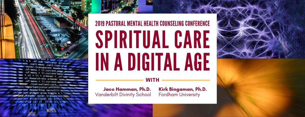 Banner image with the title of the 2019 Pastoral Mental Health Counseling Conference