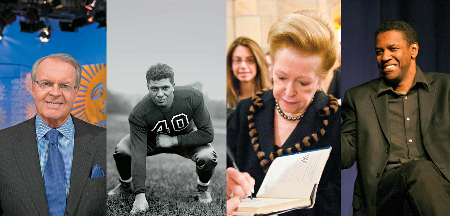 Notable Fordham alumni Charles Osgood, Vince Lombardi, Mary Higgins Clark, and Denzel Washington