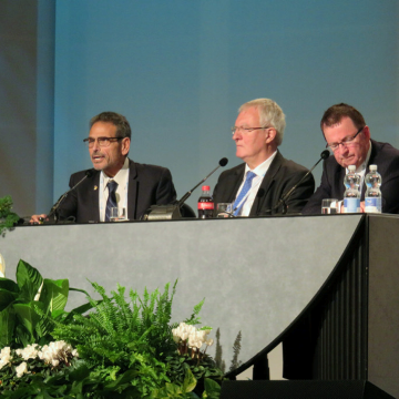 Dr. Gerald Cattaro (left) presenting at World Congress on Catholic Education.