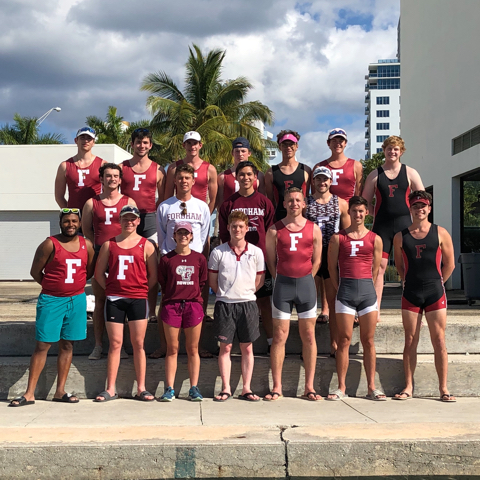 Men's Crew at the Miami Beach Rowing Club for winter training 2019