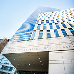 Fordham Law School entrance from Robert Moses Plaza at Lincoln Center campus