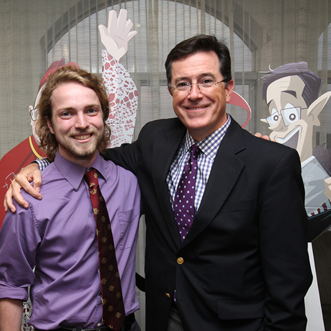 Student with Stephen Colbert