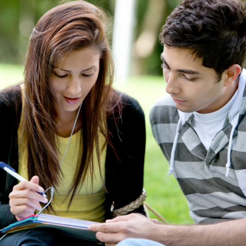 Two students doing homework