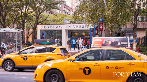 Zoom background with the Lincoln Center campus and yellow taxis.
