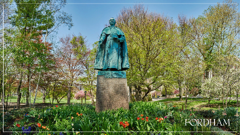 Zoom background with a statue and trees during the spring.