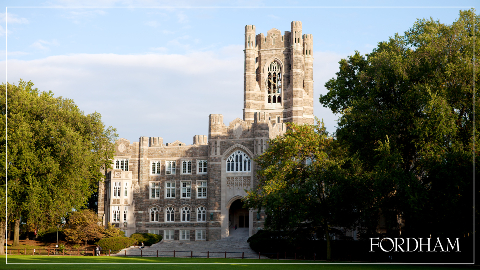 Zoom background with the sunlight on Keating Hall.