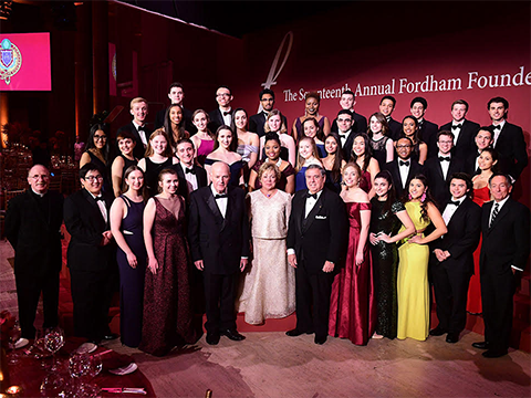Students and Founders posing for a group shot for Founder's Dinner 2018.
