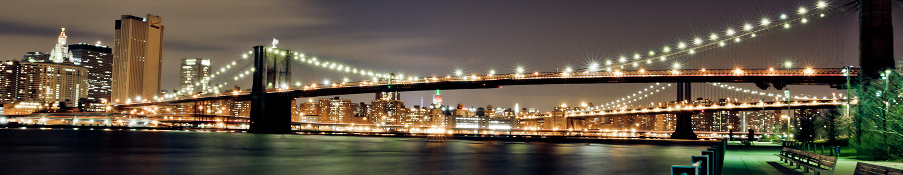 GSB NYC Skyline with Bridge Signpost