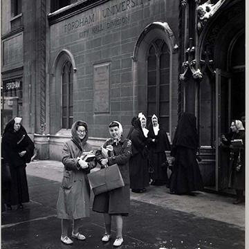 Students wait for class in historic Fordham photo