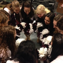 Getting ready at MSG with the team cheer