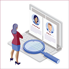 HR LinkedIn Learning laptop and magnifying glass