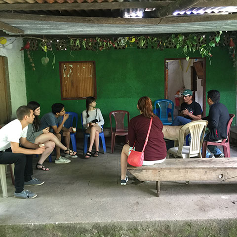 Humanitarian affairs students meeting with a family in Nicaragua.