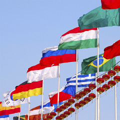 Flags of many nations from around the world