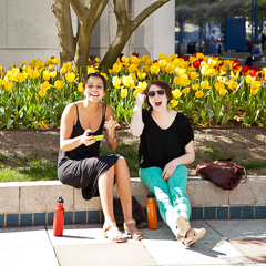 Two Students Outside on Spring Day