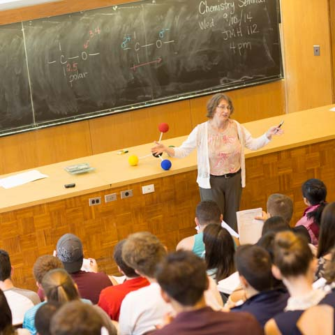 Faculty member lectures in chemistry class - LG