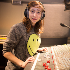 Female Student at Mixing Panel