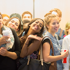 Group of Female Students on Elevator