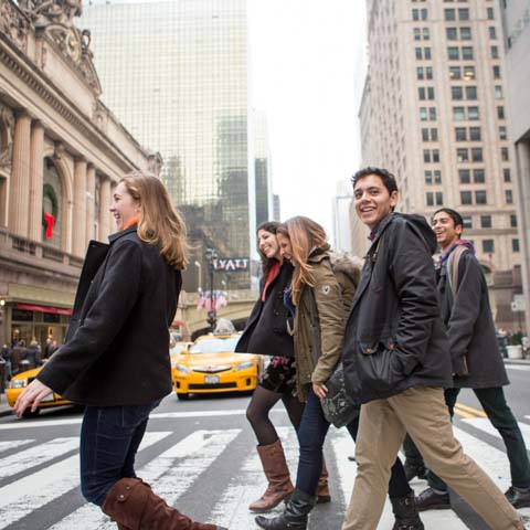 Students Crossing Street at Grand Central