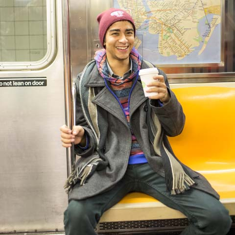 Male Student on Subway