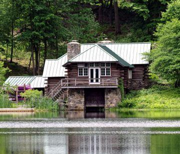 Lakeside lodge from the opposite side of calder lake