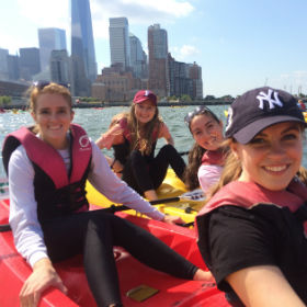 Manresa Scholar Freshmen kayaking on the Hudson River.
