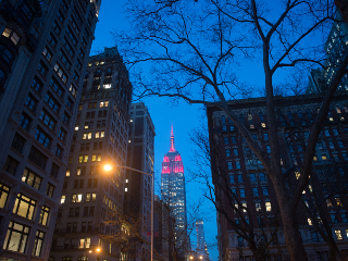 New York Skyline at Night With Empire State Building Colored Light.