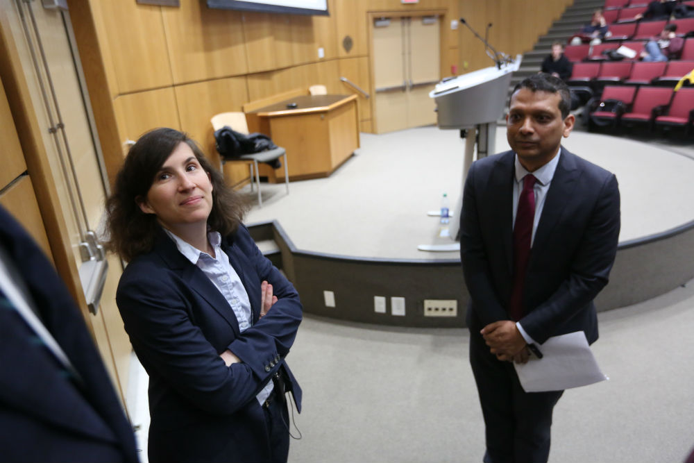 Vanessa Ogle and Asif Siddiqi at the keynote speech for the O'Connell Conference