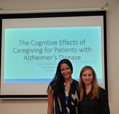 Dr. Francesca Falzarano with her mentor Dr. Karen Siedlecki after successfully defending her dissertation titled The Cognitive Effects of Caregiving for Patients with Alzheimer's Disease