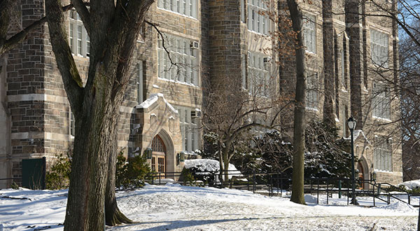 Rose Hill campus with snow