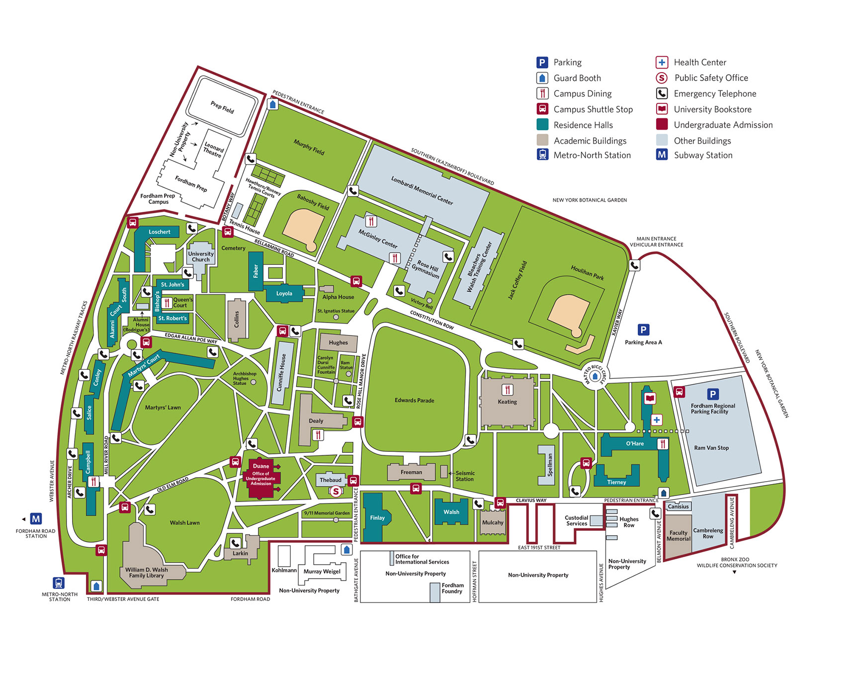 Map of the Rose Hill Campus