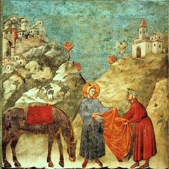 St Francis Giving his Mantle to a Poor Man - Giotto di Bondone