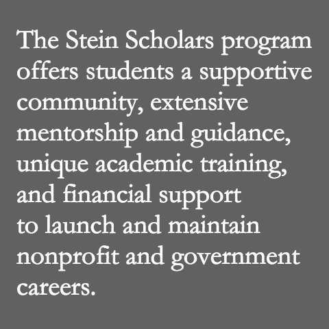 The Stein Scholars program at Fordham Law offers students a supportive community, extensive mentorship and guidance, unique academic training, and financial support to launch and maintain nonprofit and government careers.