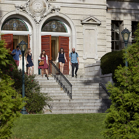 Students Leaving Building