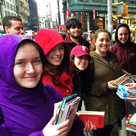Manresa Scholars on their urban immersion trip, at the Strand NYC.