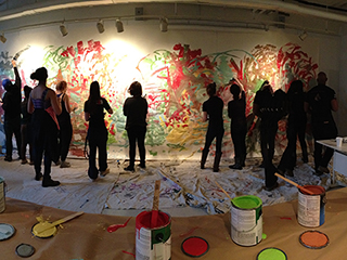 Visual Art Students Painting a Mural