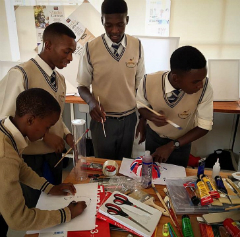 South African High School students work on art project