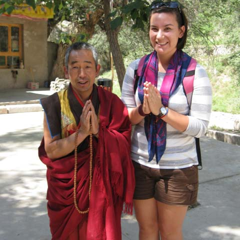 Student with Buddhist Monk