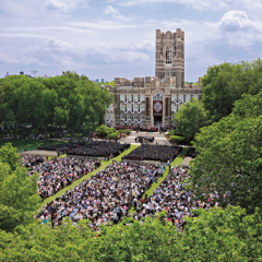 Aerial view of commencement at Rose Hill - SM