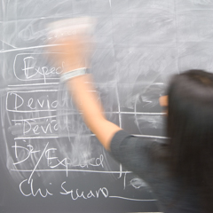 Female student erasing black board - SM