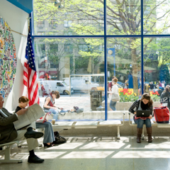 Students in Sunlit Lobby - SM