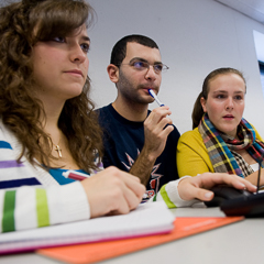 Three Students in Class