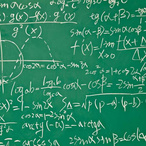 Stock photo of green board with physics equations - LG